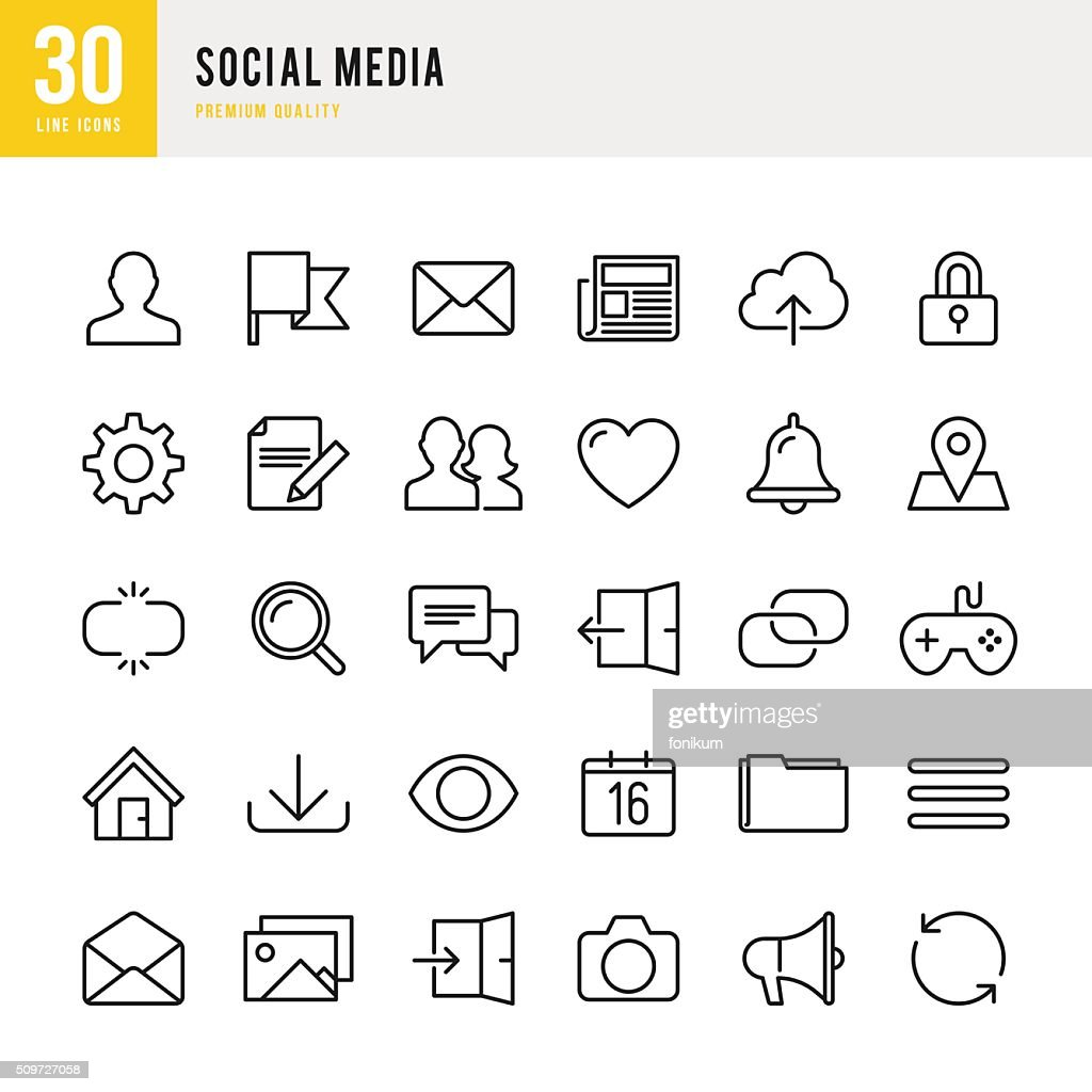 Social Media - Thin Line Icon Set : stock illustration