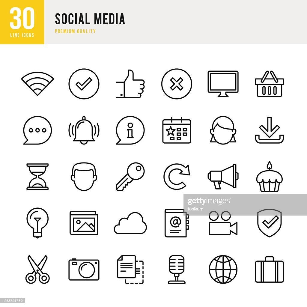 Social Media - Thin Line Icon Set : stock illustration