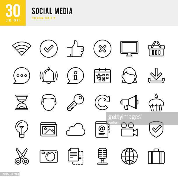 social media - thin line icon set - microphone transmission stock illustrations