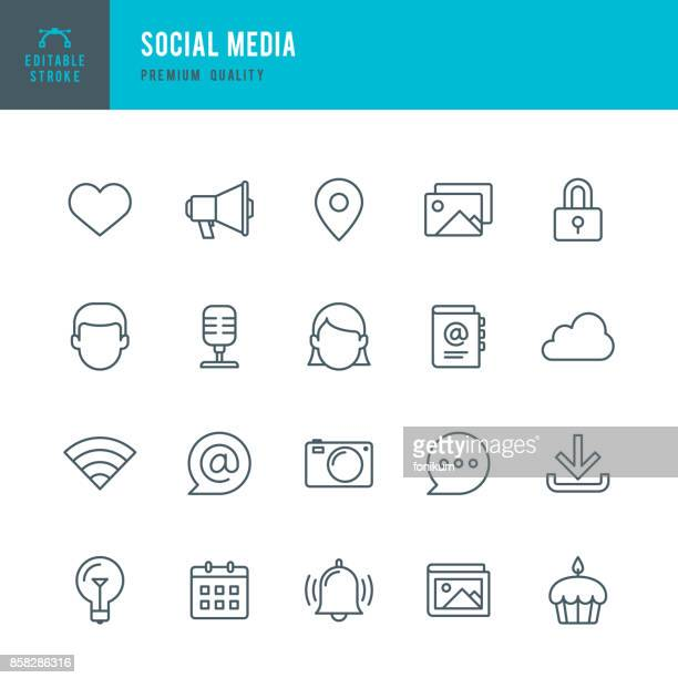 social media  - thin line icon set - icon set stock illustrations, clip art, cartoons, & icons