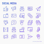 Social media thin line icons set: thumbs up, share, link, send e-mail, music, stream, comments. Vector illustration.