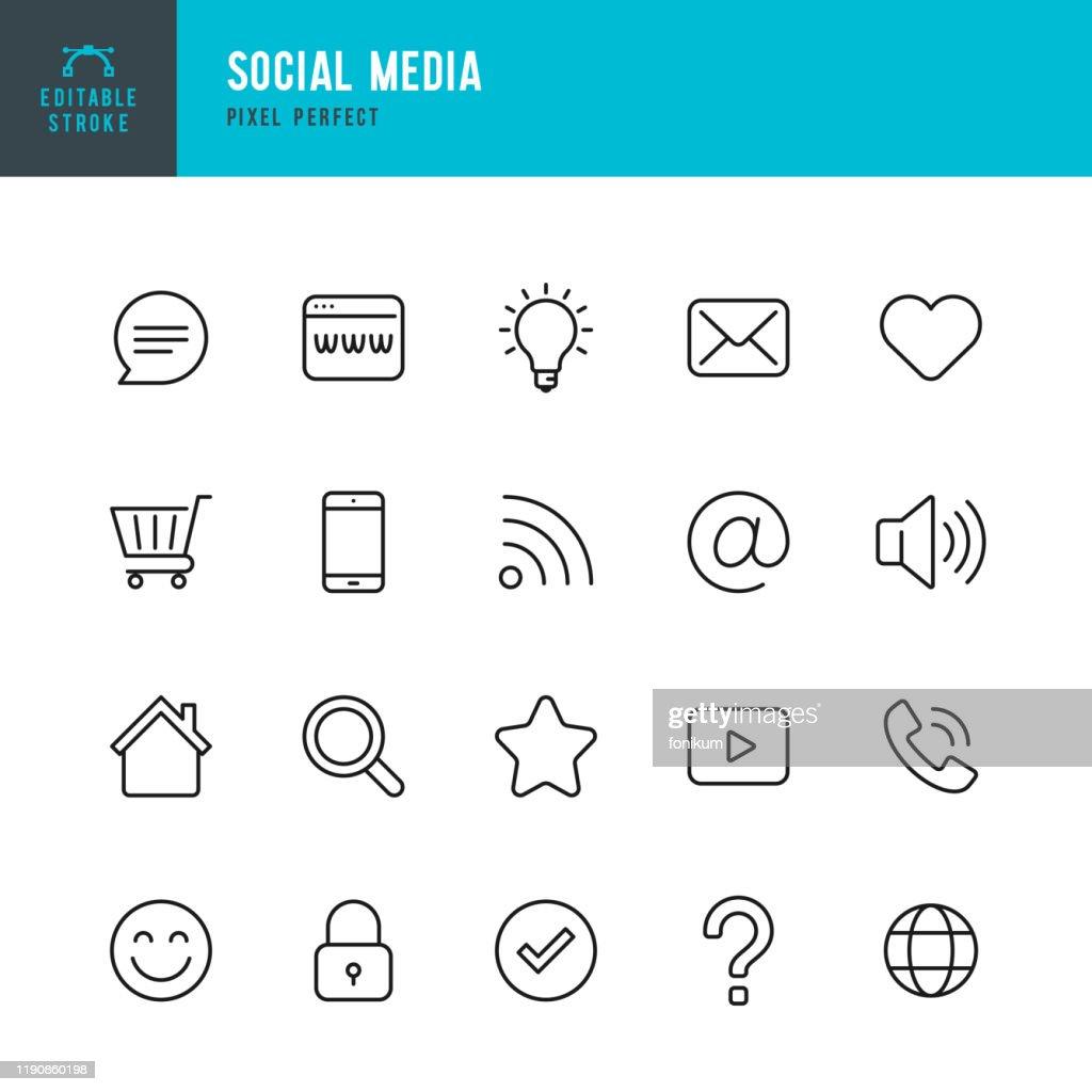 ソーシャルメディア - 細い線ベクトルアイコンセット。ピクセルパーフェクト。編集可能なストローク。セットは、アイコンショッピングカート、ホーム、チェックマーク、電子メール、グ� : ストックイラストレーション