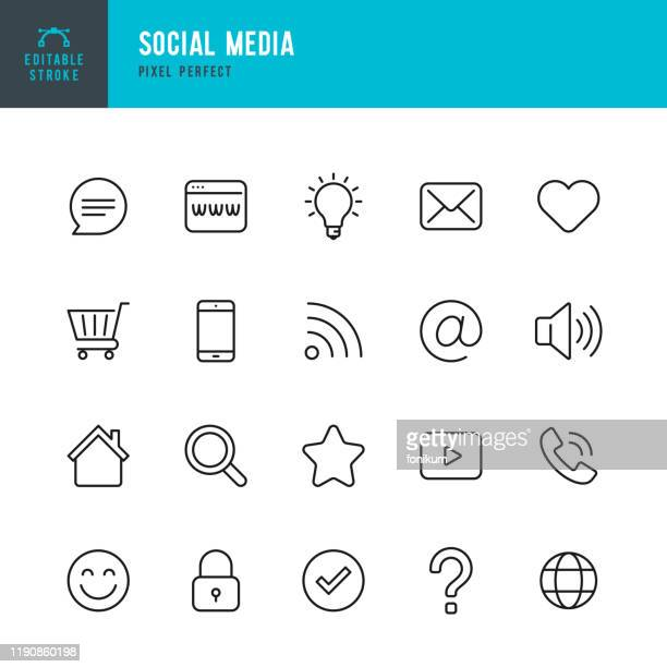 social media - thin line vector icon set. pixel perfect. editable stroke. the set contains icons shopping cart, home,  check mark, e-mail, globe, lock, question mark, magnifier,  message. - shopping cart stock illustrations