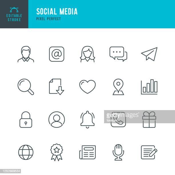 ilustrações, clipart, desenhos animados e ícones de social media - conjunto de ícones vetoriais de linha fina. pixel perfeito. golpe editável. o conjunto contém ícones: masculino; feminino, e-mail, bolha de fala, telefone, notícias, forma do coração, lembrete. - meios de comunicação