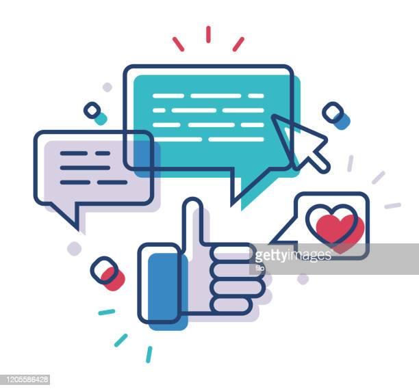 ソーシャルメディアはコミュニケーションをサムアップ - 噂点のイラスト素材/クリップアート素材/マンガ素材/アイコン素材