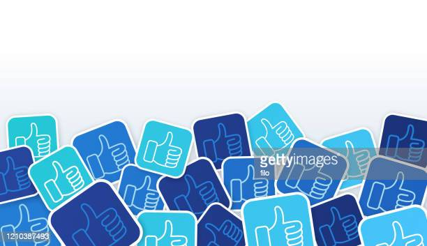 social media thumbs up likes background - like button stock illustrations