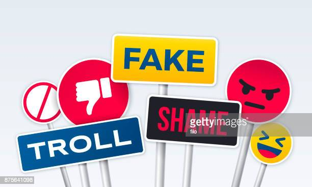 social media trolling anger bullying - thumbs down stock illustrations