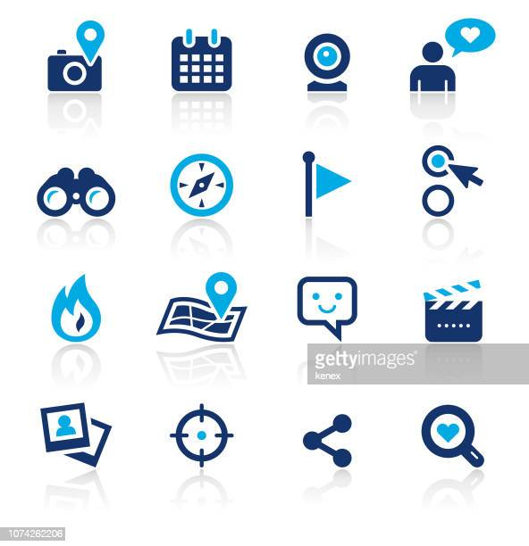 social media two color icons set - binoculars stock illustrations