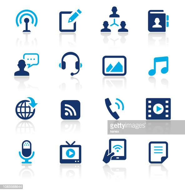 social media two color icons set - telephone receiver stock illustrations