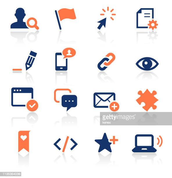 social media two color icons set - cursor stock illustrations