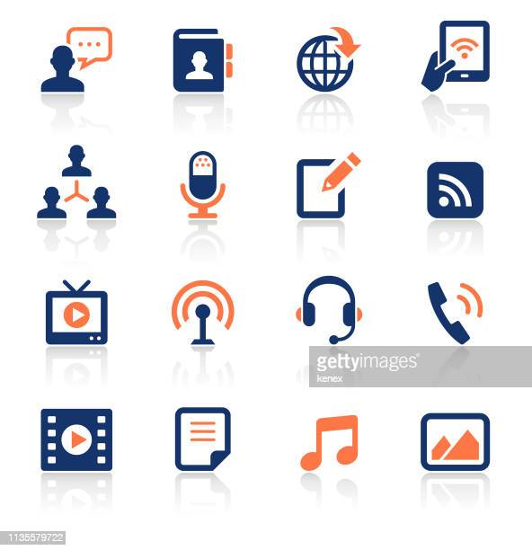 social media two color icons set - podcasting stock illustrations, clip art, cartoons, & icons