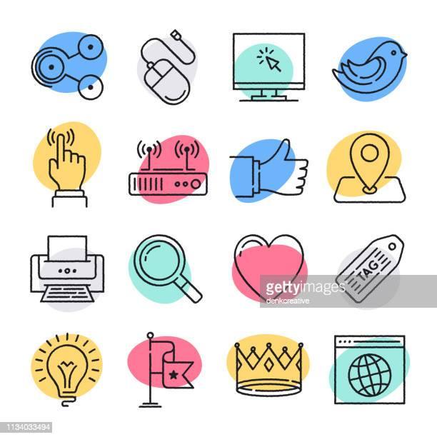 social media usage doodle style vector icon set - social media followers stock illustrations
