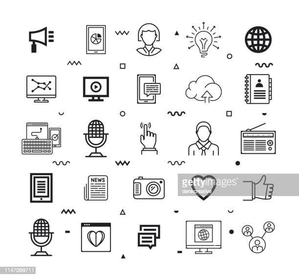 social media vacancies outline style vector icon set - umschulung stock-grafiken, -clipart, -cartoons und -symbole