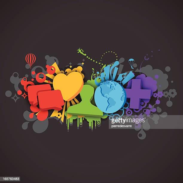 Social Media Vector Design - Splash Style