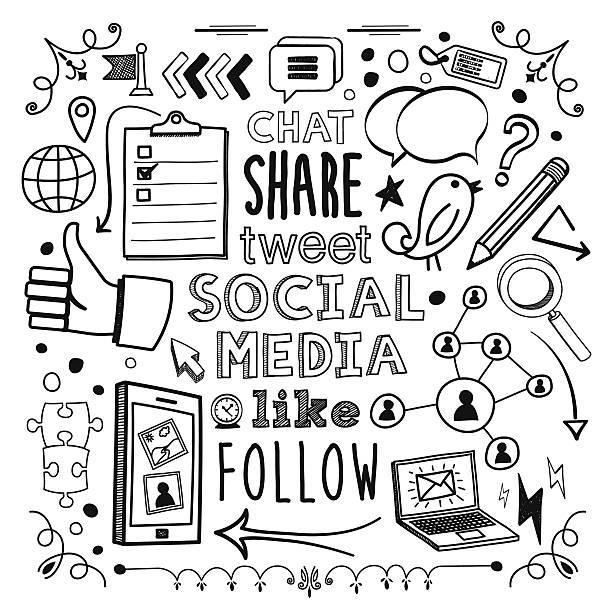 social media - pencil drawing stock illustrations