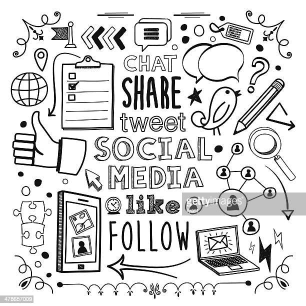 social media - pencil drawing stock illustrations, clip art, cartoons, & icons