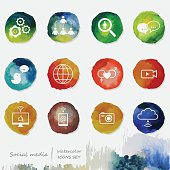 Social Media Watercolor Icons Set