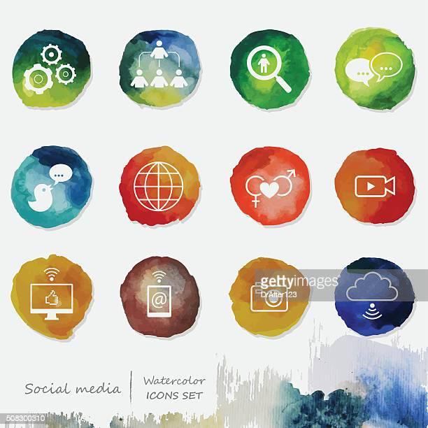 Social Media Watercolor Icons Set
