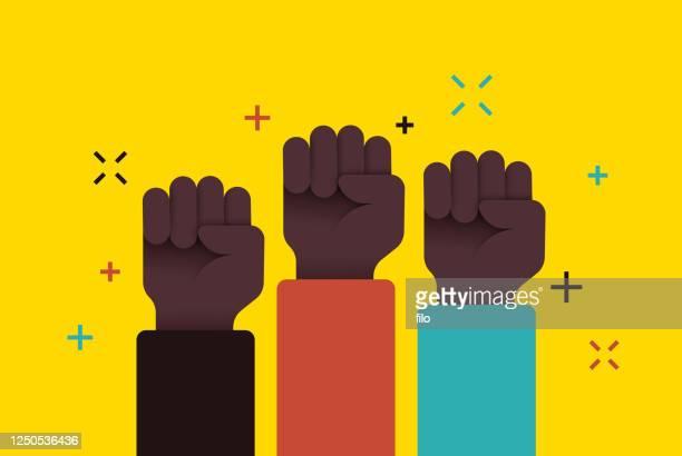 illustrazioni stock, clip art, cartoni animati e icone di tendenza di social movement protest fists raised - giustizia sociale