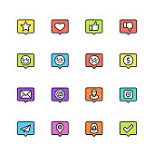 Social net notifications vector icon set