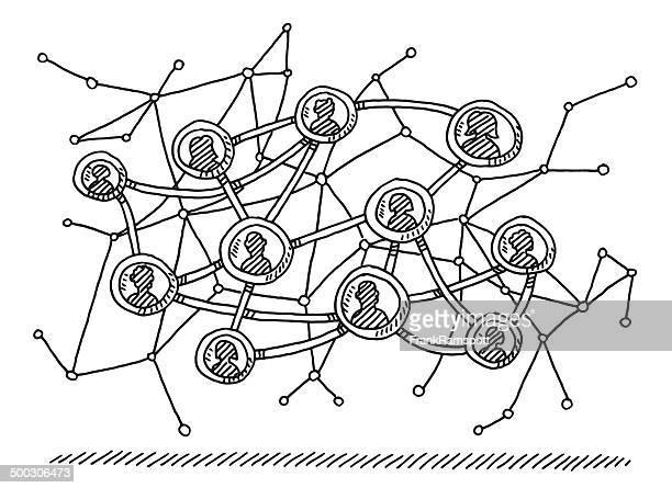 abstrakte zeichnung soziales netzwerk - ausgemalte federzeichnung stock-grafiken, -clipart, -cartoons und -symbole