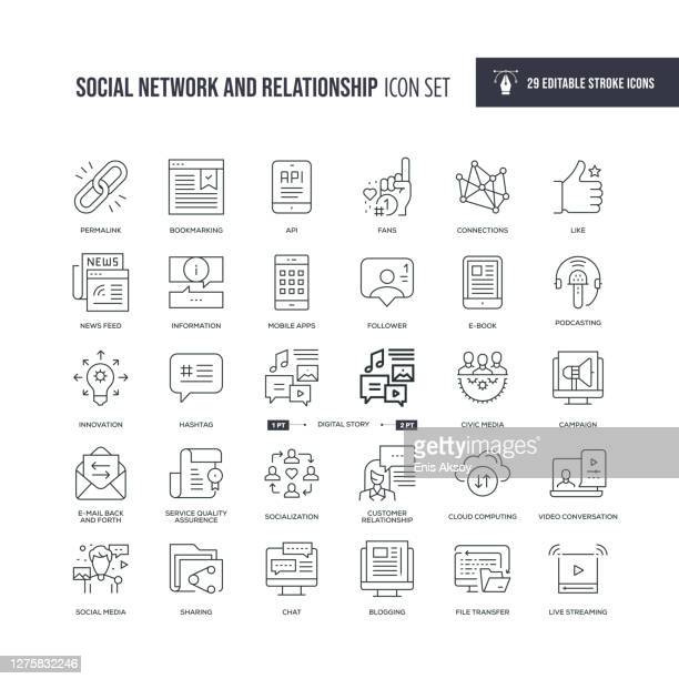 social network and relationship editable stroke line icons - social media icons stock illustrations