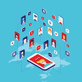 Social network and technology concept Global communication