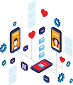 Social network and technology concept Modern flat isometric design