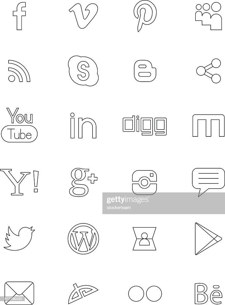 Social network black logos