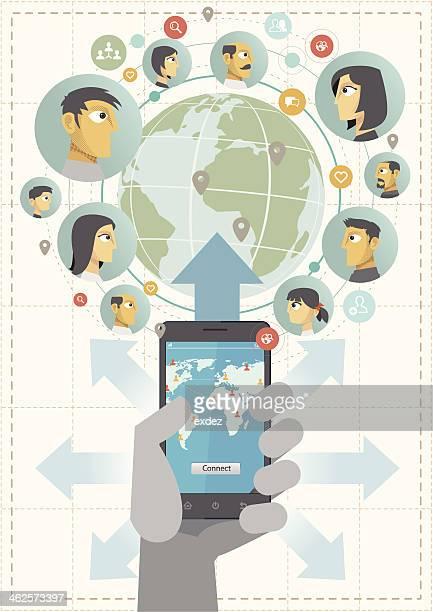 ソーシャルネットワークとスマートフォンでます。 - クラウドソーシング点のイラスト素材/クリップアート素材/マンガ素材/アイコン素材
