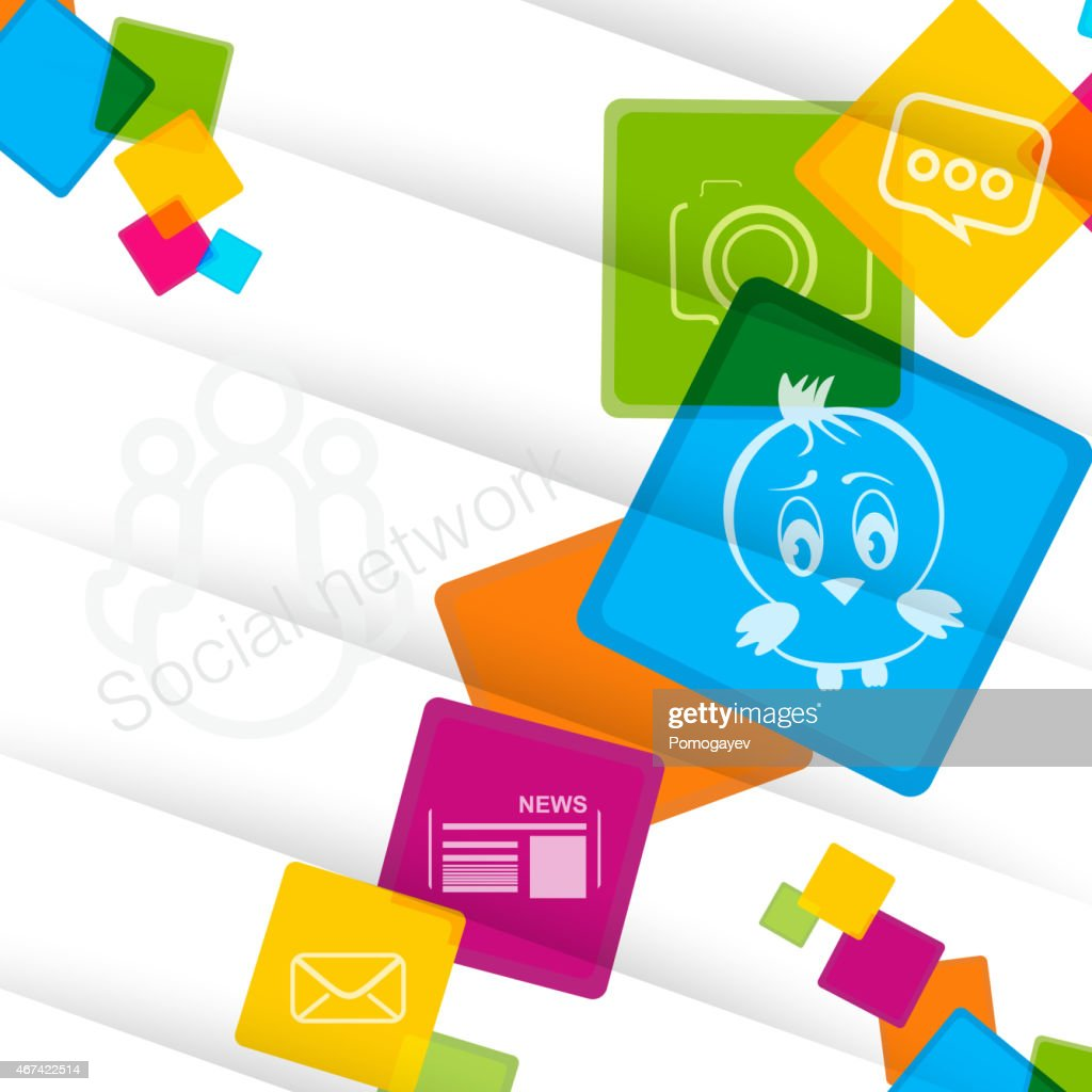 Social network colorful background