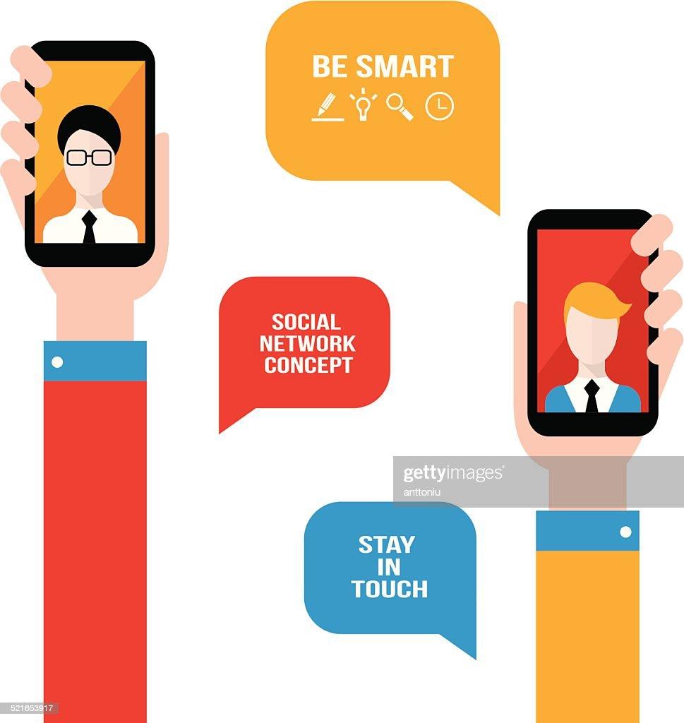 Social network, communication concept. Hand holding smart phone