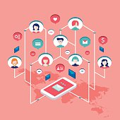 Social network communication Isometric concept illustration
