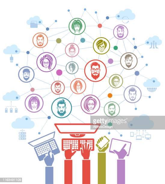 ilustrações, clipart, desenhos animados e ícones de conceito social da rede - tecnologia sem fio