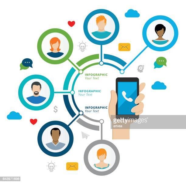 social network concept - interactivity stock illustrations, clip art, cartoons, & icons