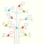Social network concept with birds