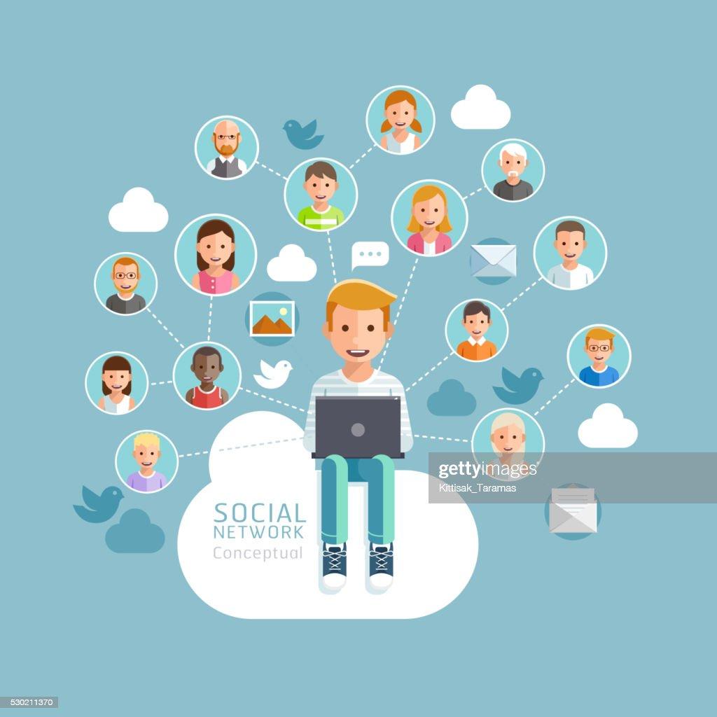 Social Network Conceptual Flat Style.