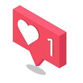 social network hearth vector icon isometric design