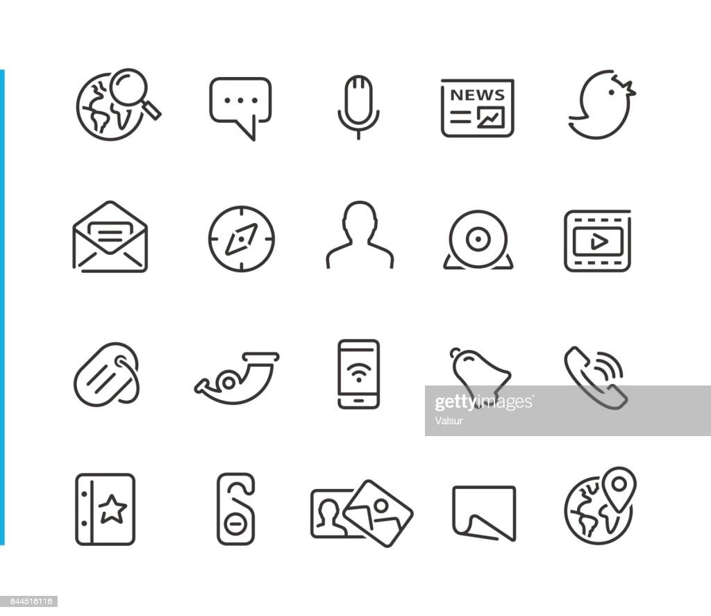 Social Network Icon Set // Blue Line Series