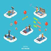 Social network isometric flat vector illustration.