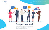 Social Network Landing Page Template. Group of Young People Characters Chatting Using Smartphone for Website or Web Page