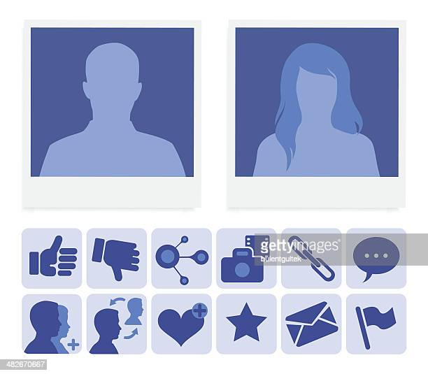 social network profile - girls flashing camera stock illustrations