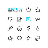 Social Network Signs - Thick Single Line Icons Set