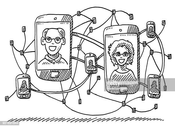 social network smartphone concept drawing - clip art family stock illustrations