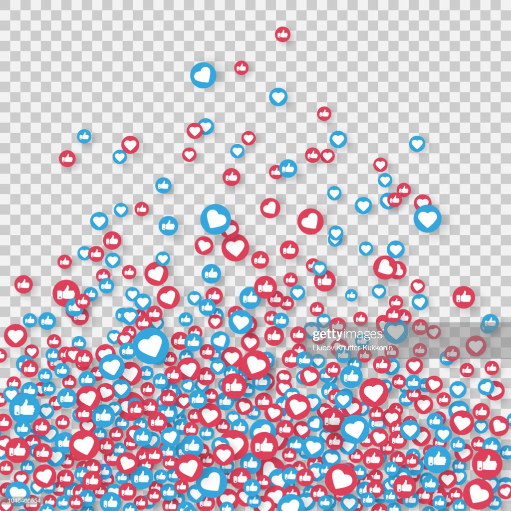 Social network symbol. Like and thumbs up icons isolated on transparent background. Counter notification icons. Social media elements. Emoji reactions. Vector illustration