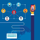 Social Network Technology and Communication concept Infographic banner