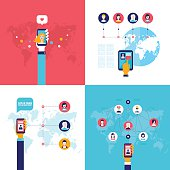 Social Network Technology Banner set People using various electronic devices