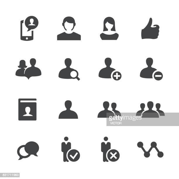social network user icons - acme series - females stock illustrations