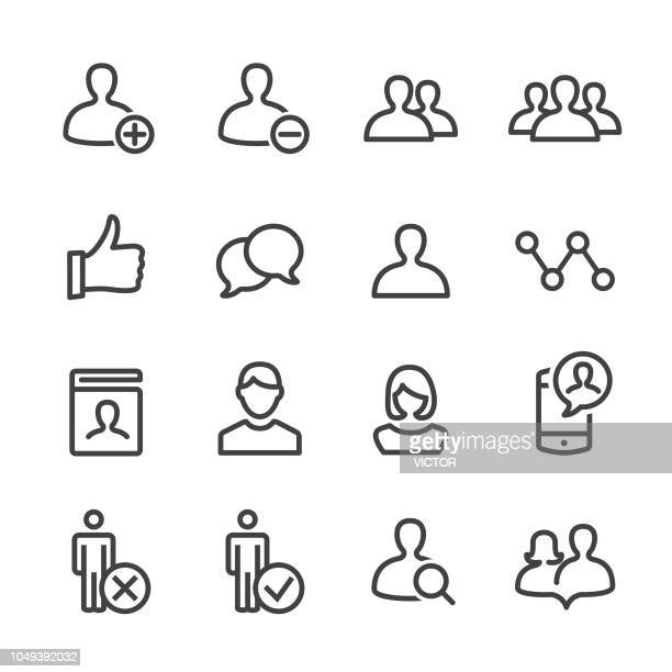 social network user icons - line series - using phone stock illustrations