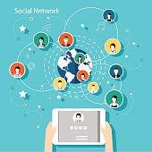 Social Network Vector Concept. Flat Design Illustration for Web